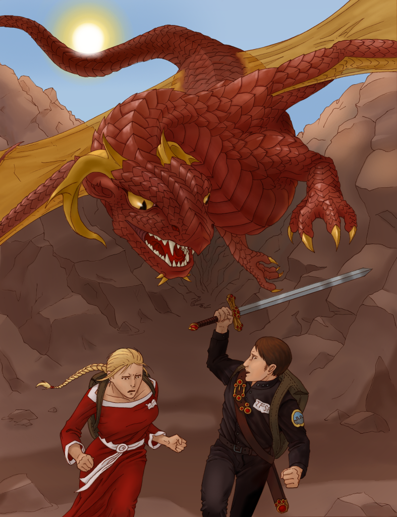Digital art submitted by G.C. on Nov 3, 2013 featuring Alaric, Laeshana, and a hungry dragon