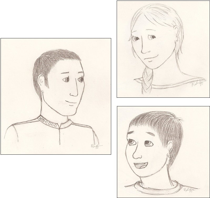 Sketches of Alaric, Laeshana, and Naruahn, submitted by R.S.